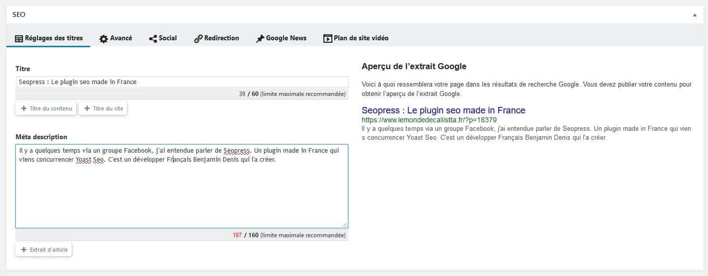 Seopress,Wordpress,Plugin,France,Yoas Seo,le carnet de calli