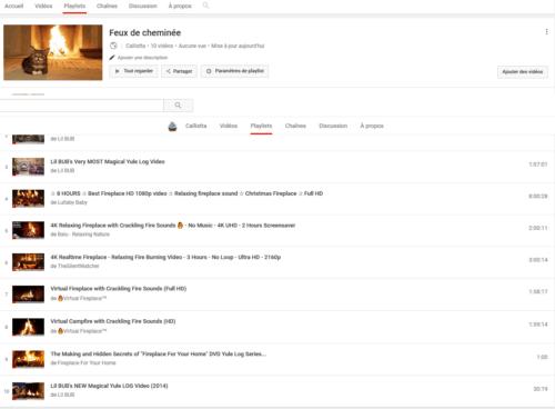 playlist feu de cheminée youtube