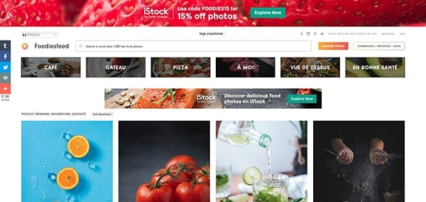 Capture d'écran du site foodies feed