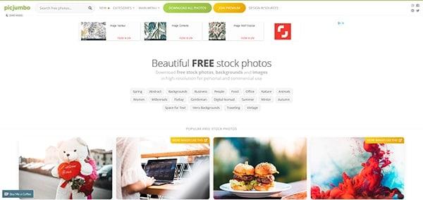 Captture d'écran du site picjumbo