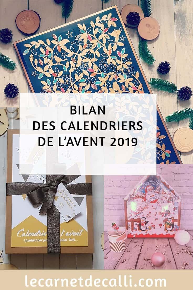 bilan des calendriers de l' avent 2019, image pour Pinterest