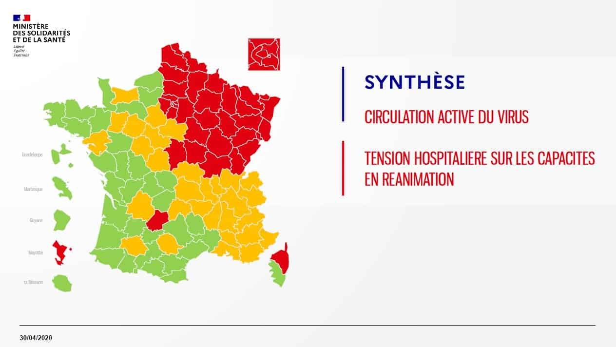Carte de France, synthèse de la situation au 30 avril 2020