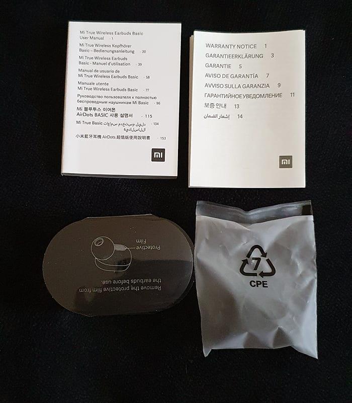 contenu de la boite des écouteurs Xiaomi mi true wireless basic