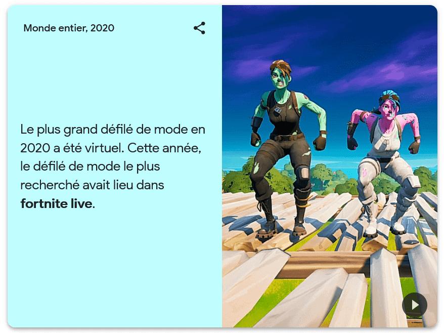 Défilé de mode virtuel sur Fortnite live